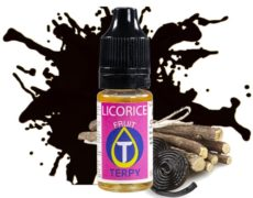 Bottle of licorice fuity flavour to vape electronic cigarette