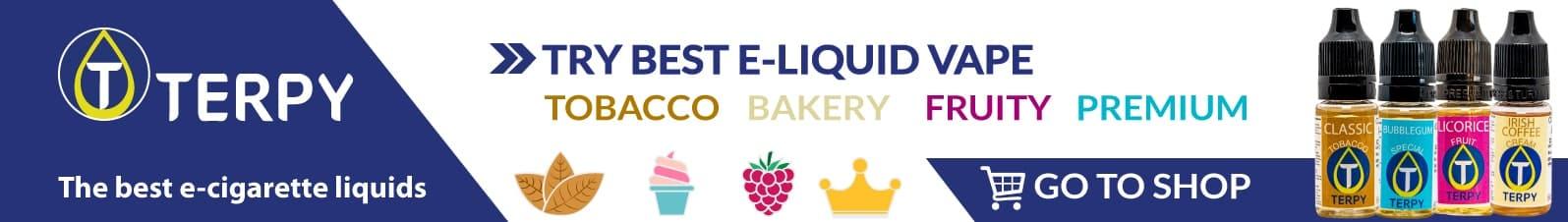 Terpy's banner of e-cigarette liquid